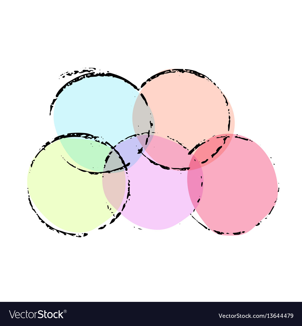 Grunge ink circles watercolor frames set vector image