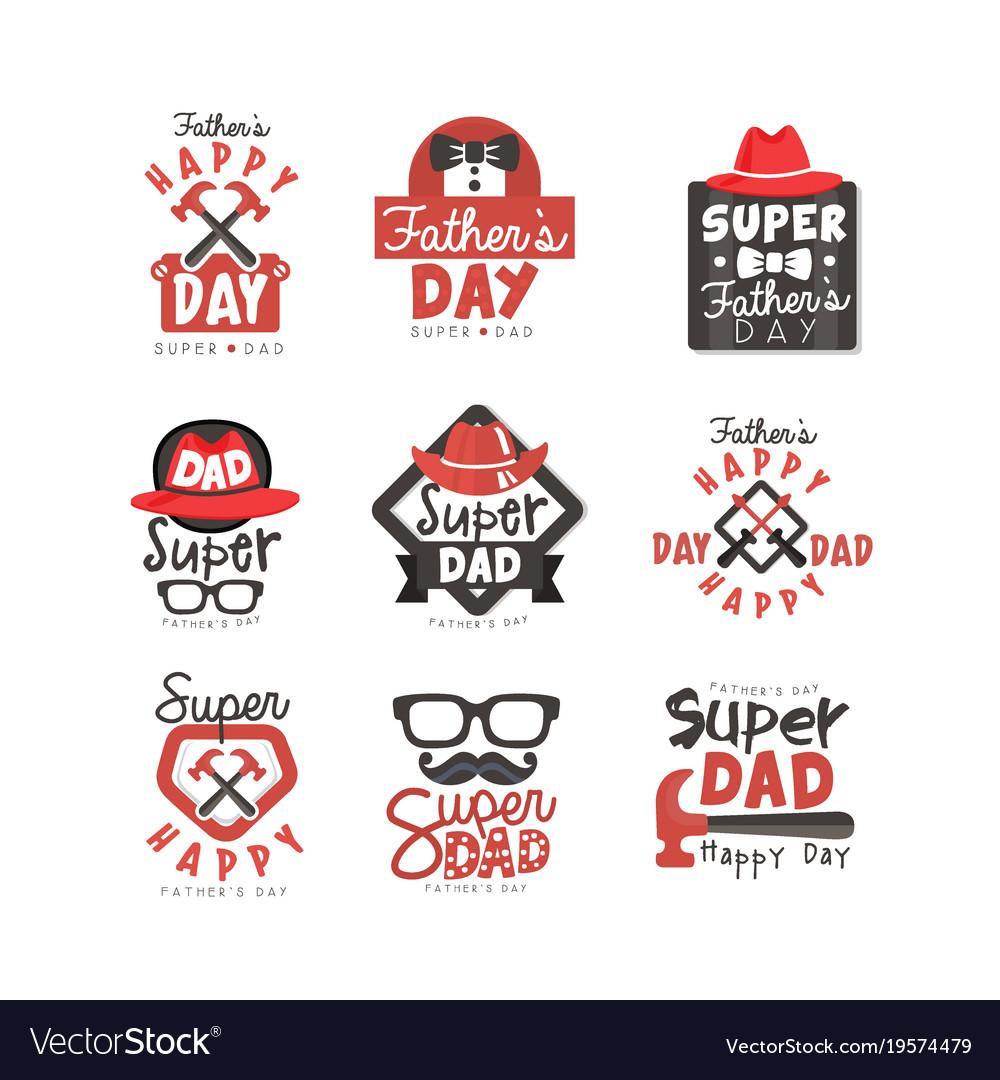 Happy fathers day logo set super dad