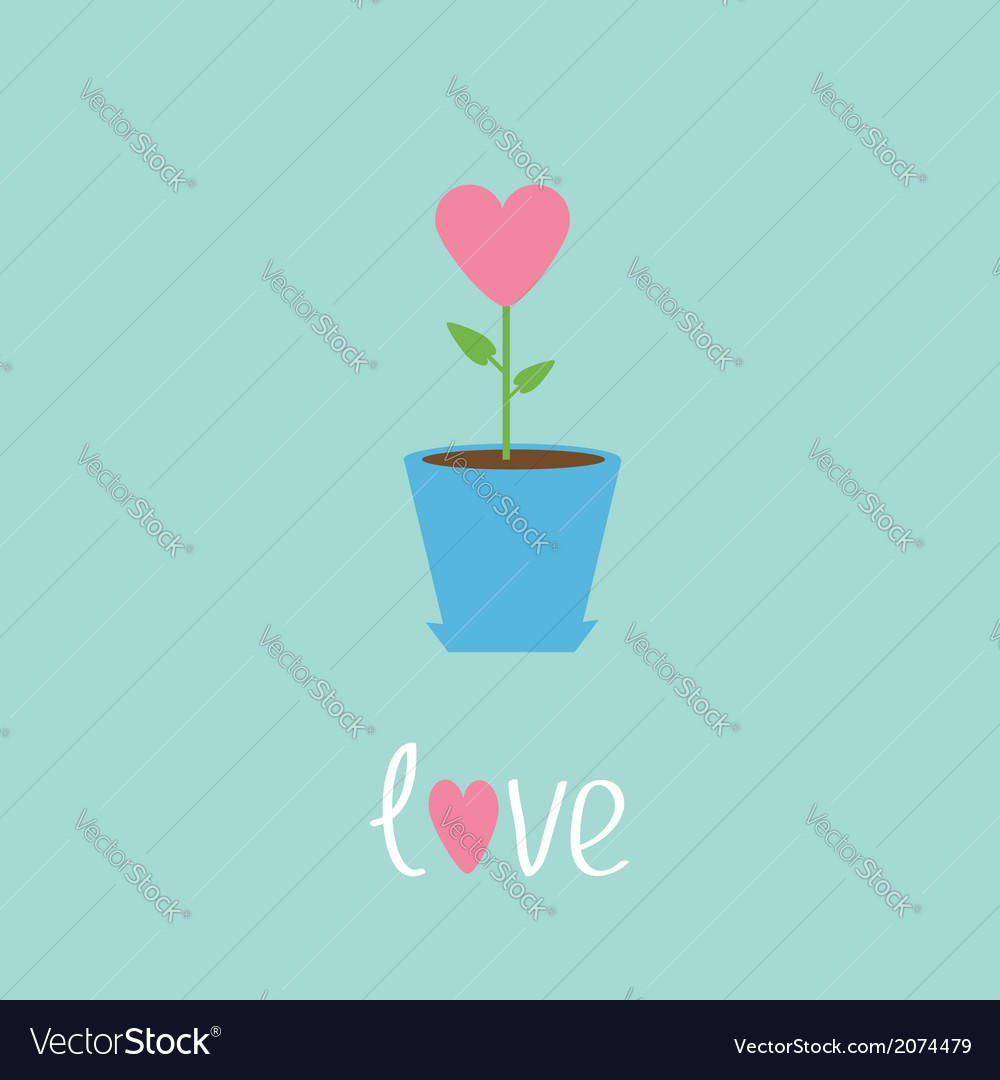 Heart flower in pot Love card vector image
