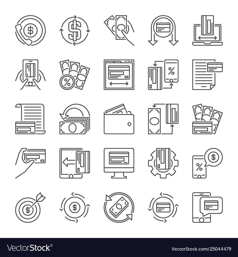 Set money minimal line icons - finance