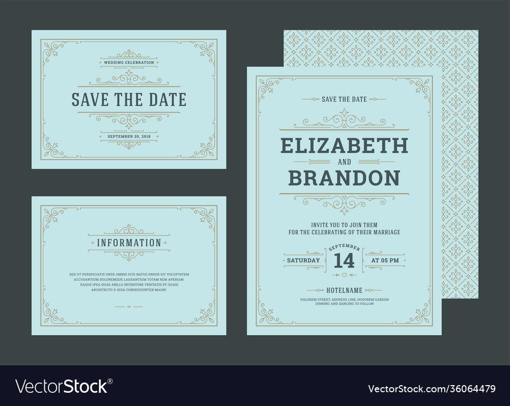 Set wedding invitations cards with flourishes