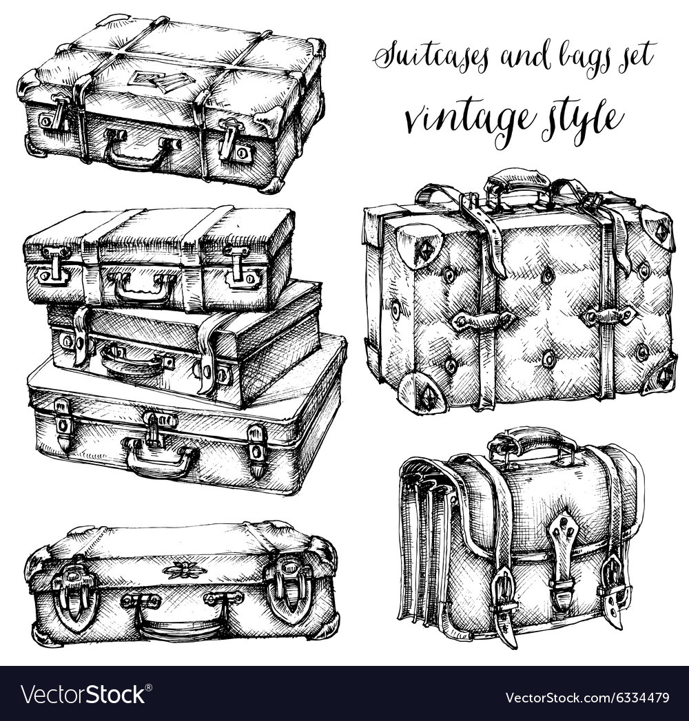 Suitcases and bags icon set hand drawn in vintage