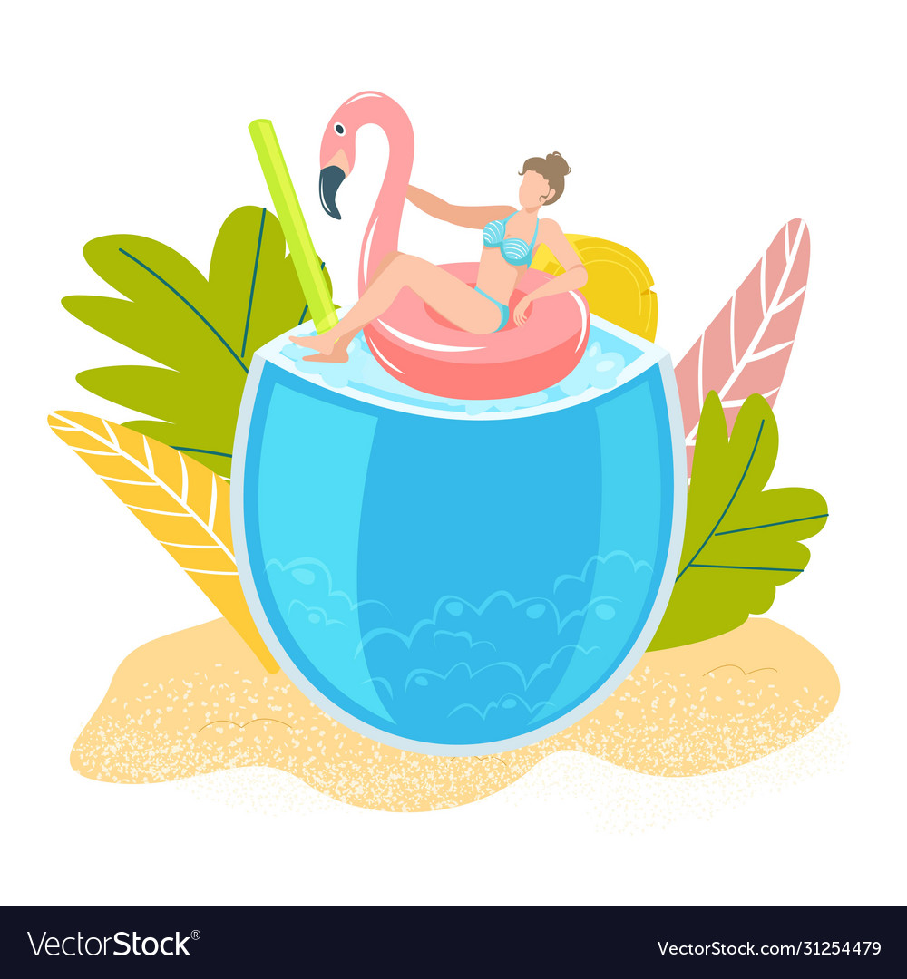 Summer tropical vacation girl on sea swimming in