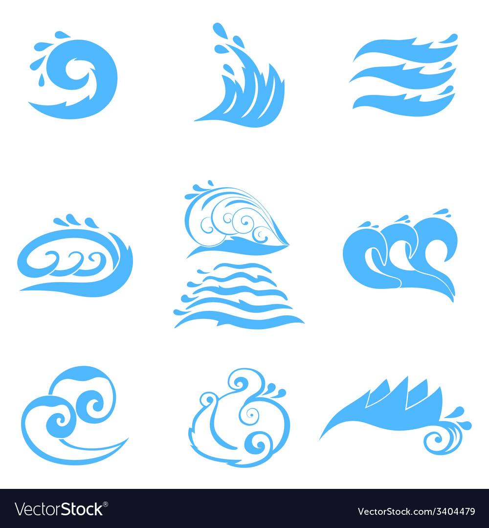 Wave symbols set for design isolated on white
