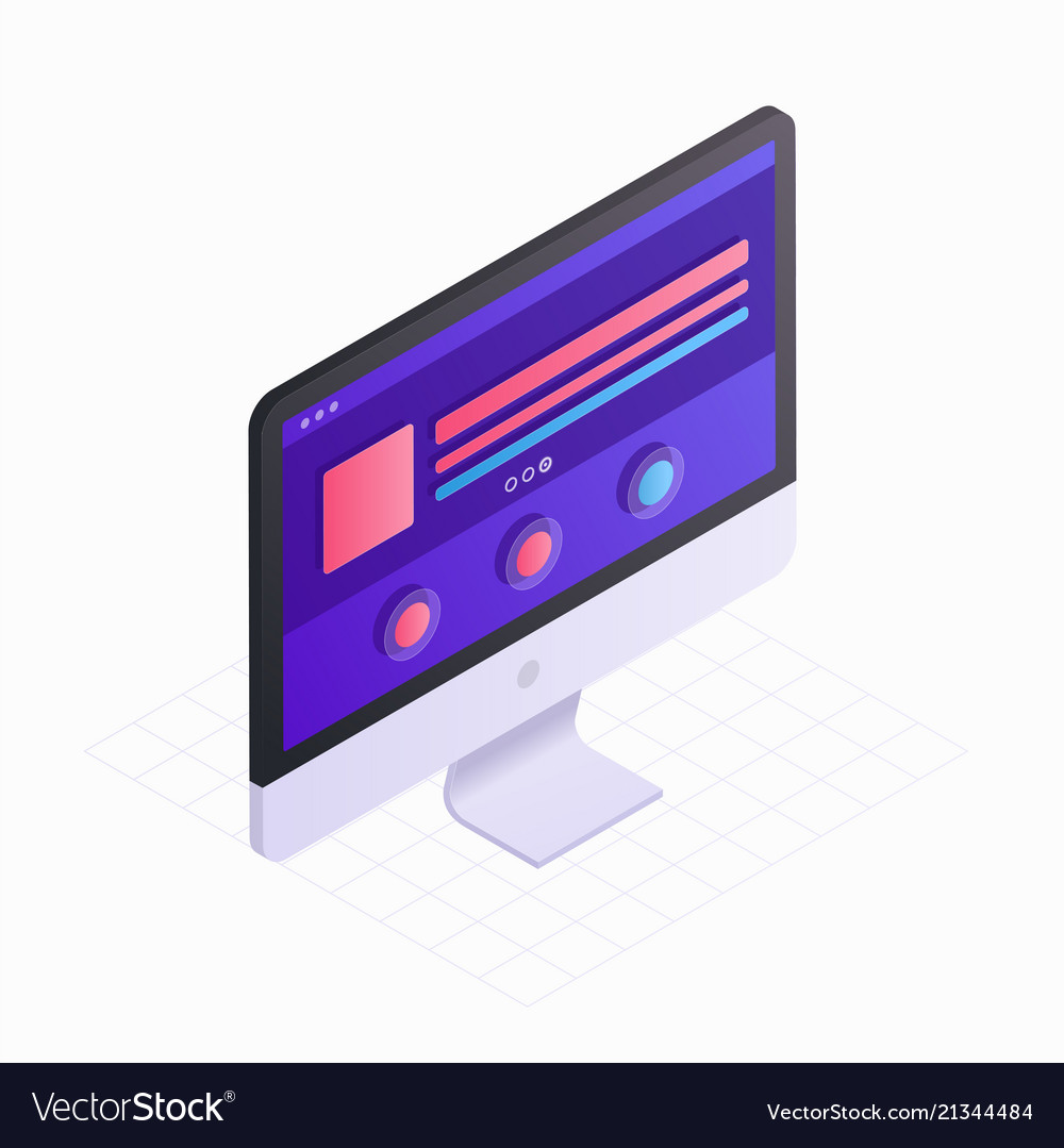 3d isometric computer screen in flat design