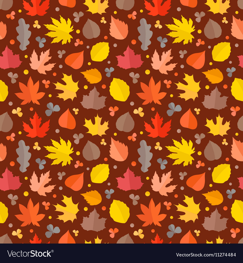 Autumn seamless pattern Fall leaves collection