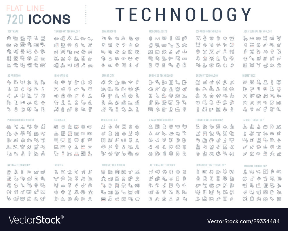 Collection linear icons technology