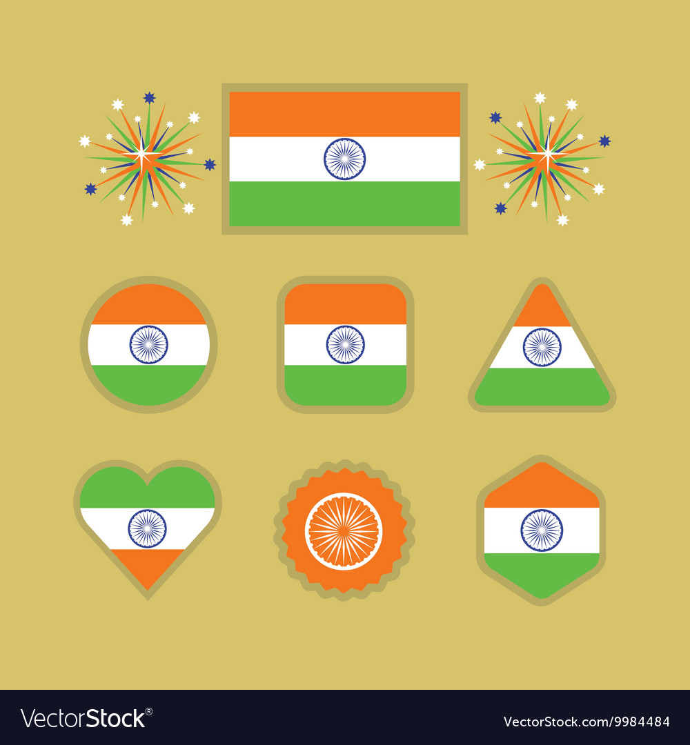 Country India flag different shapes emblems set