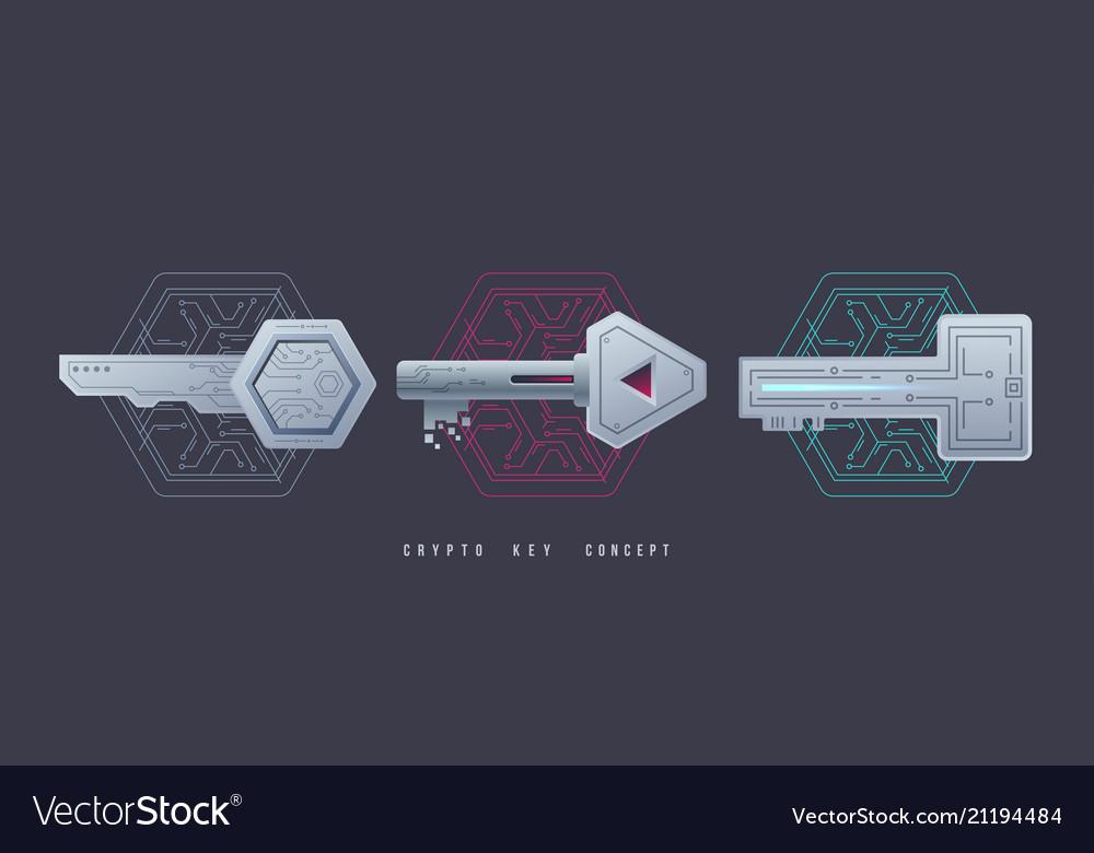 Crypto keys management icons digital graphic