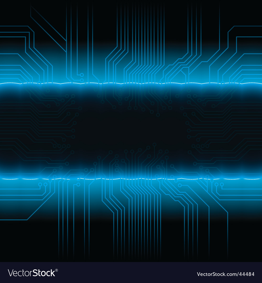 Glowing circuitry board design frame vector image