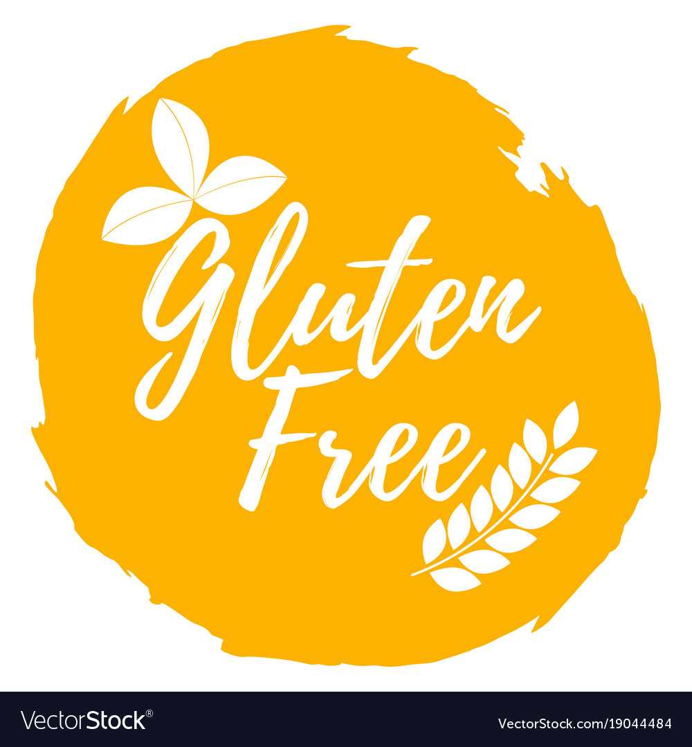 Gluten free label healthy and organic food font