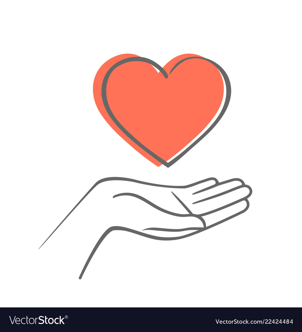 Hand giving love symbol hand draw icon