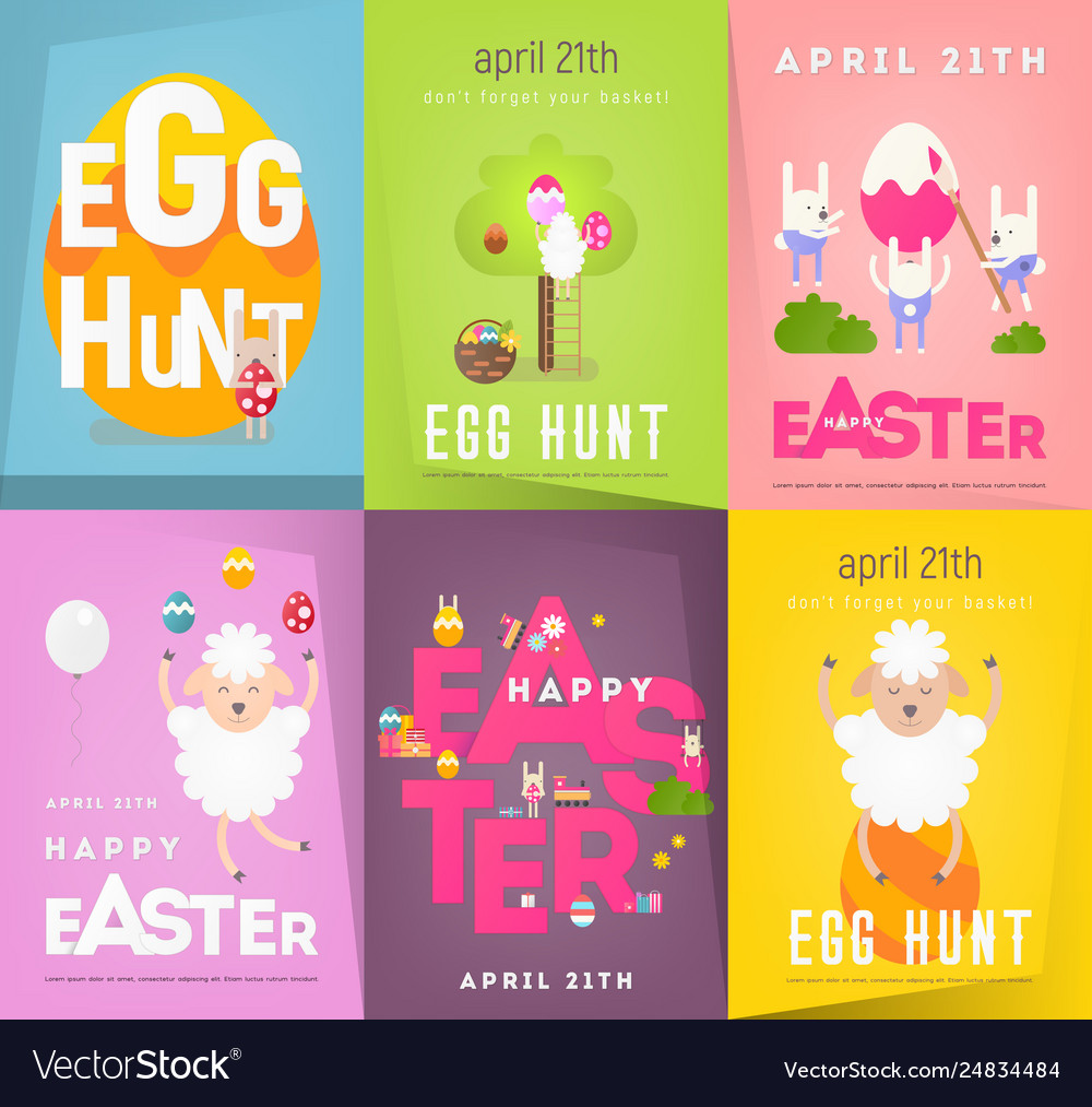 Happy easter posters set