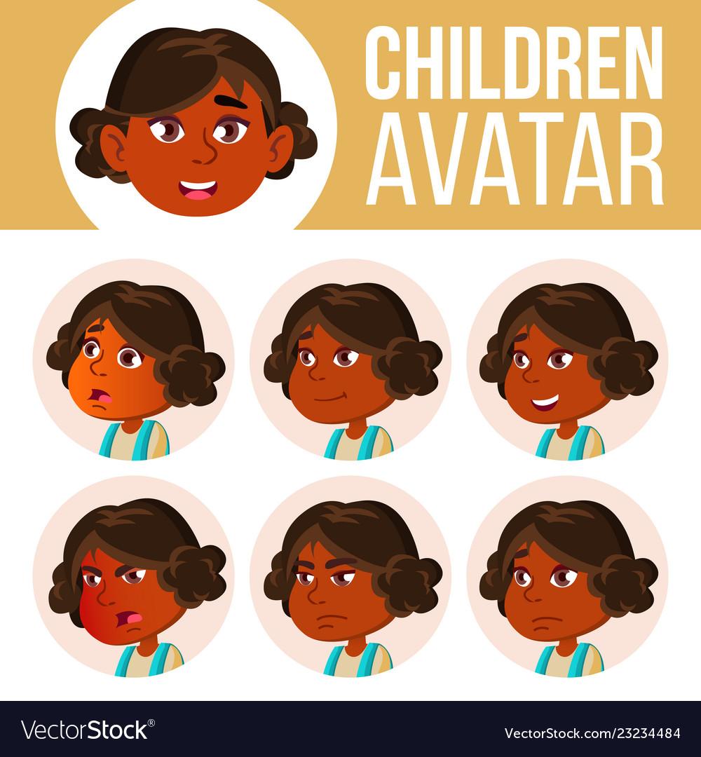 Indian girl avatar set kid kindergarten