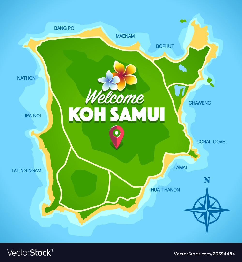 Koh Samui Map Koh samui map Royalty Free Vector Image   VectorStock Koh Samui Map