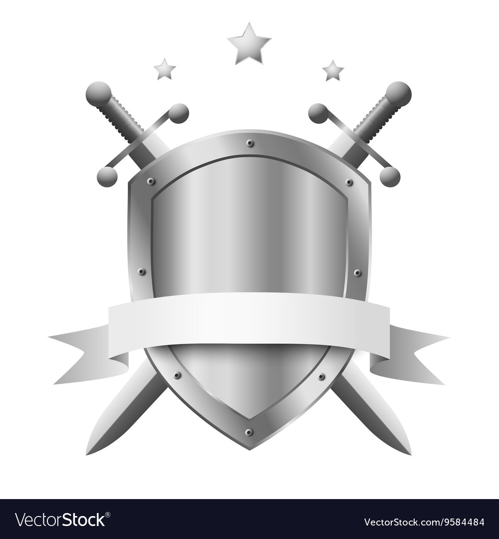 Metal shield with two crossed knight swords