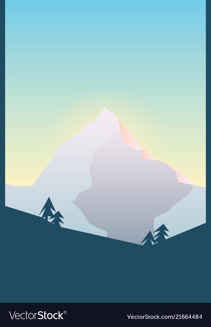 Mountain peak in morning wi