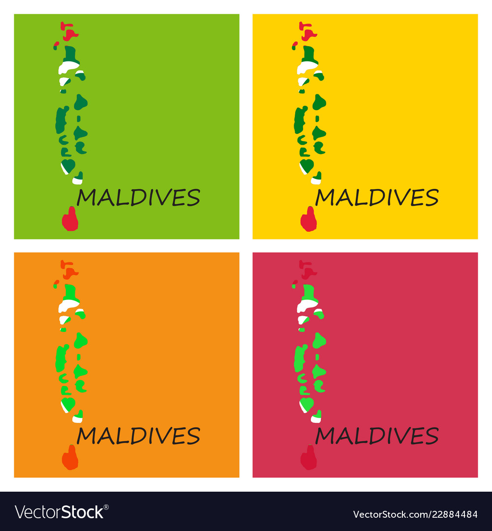 Republic of maldives flag asia world map Vector Image