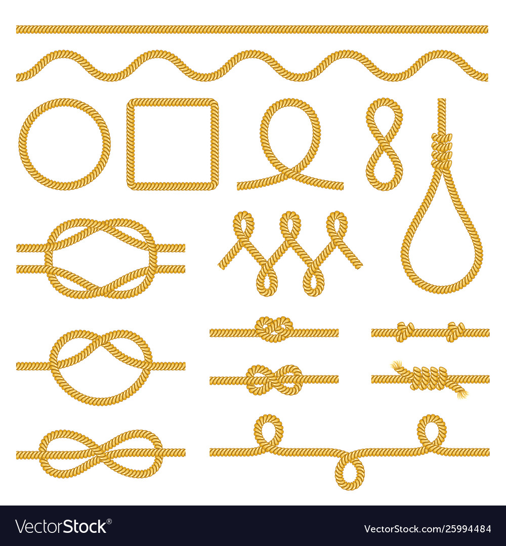 Rope knots icons photo realistic set