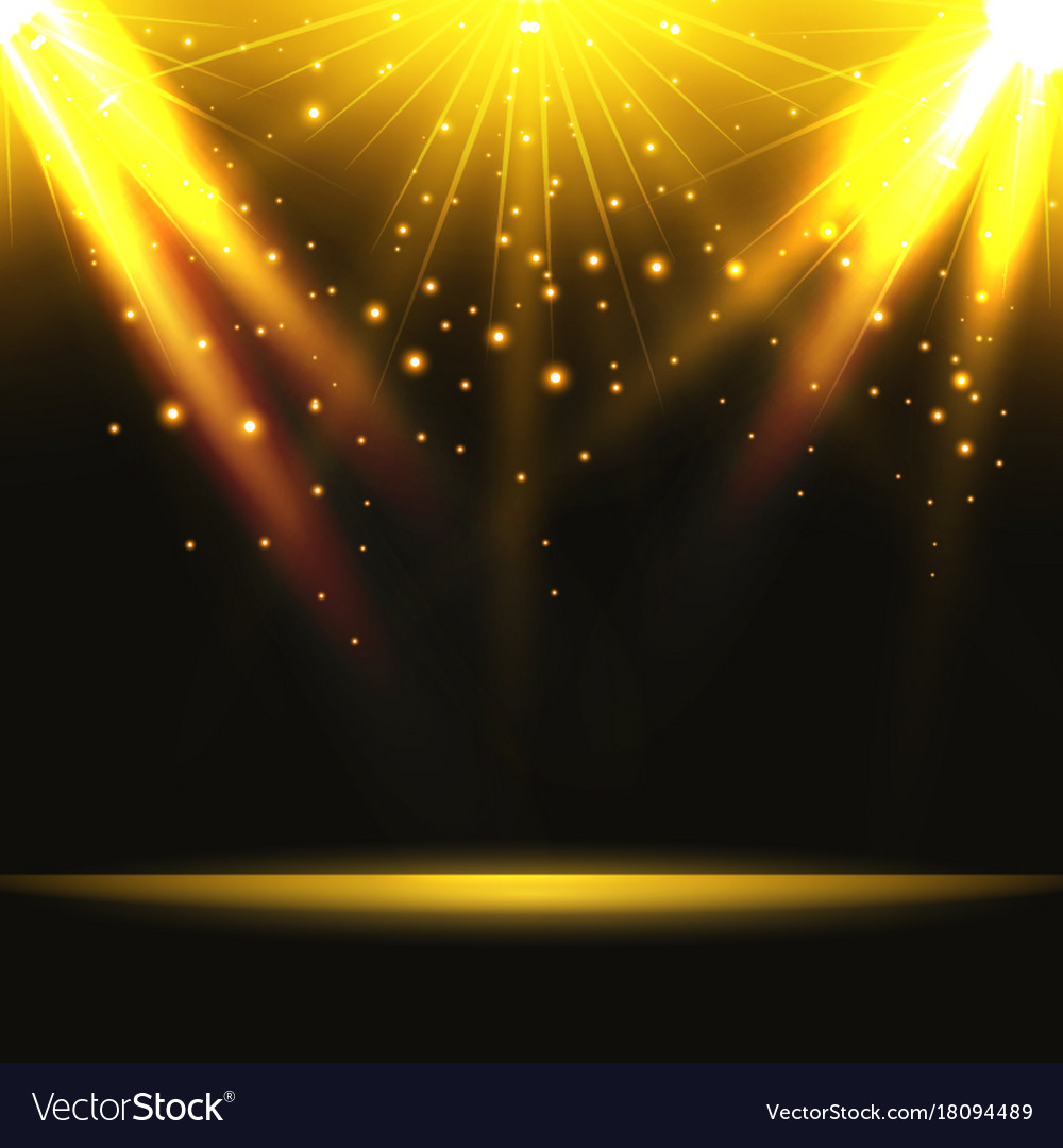 Abstract background magic light with gold burst