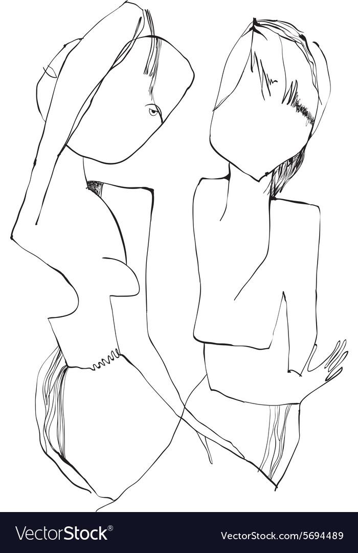 Art of Line Art - Girl and Boy vector image
