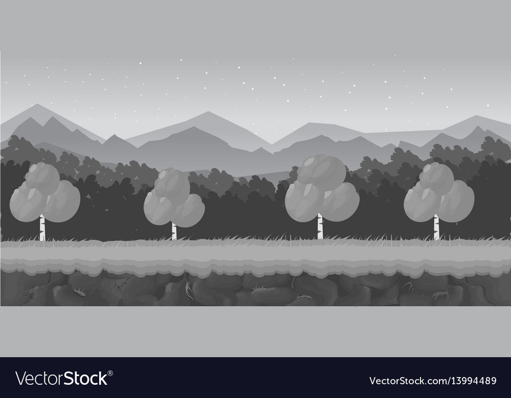 Black and white cartoon forest game background