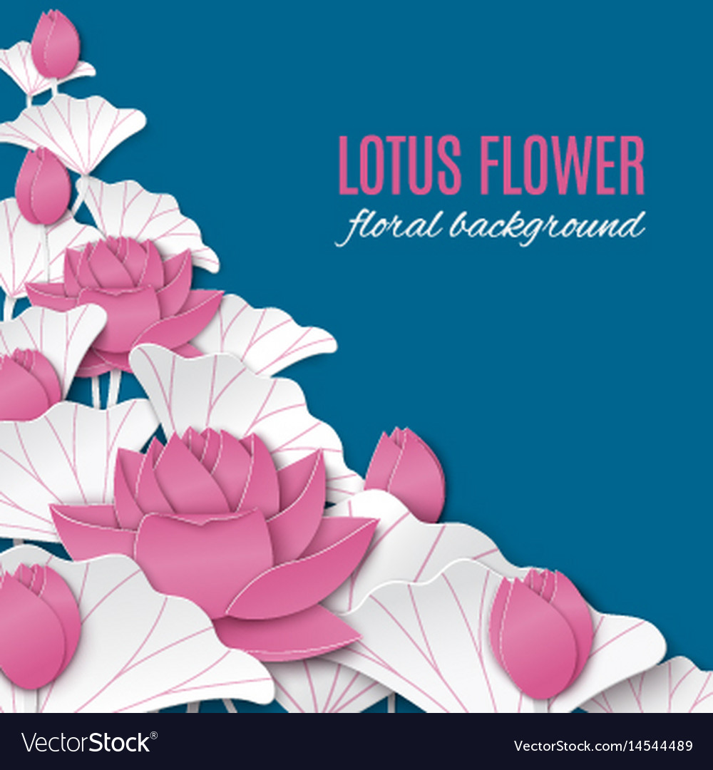 Blue Floral Background With Pink Paper Lotus Vector Image