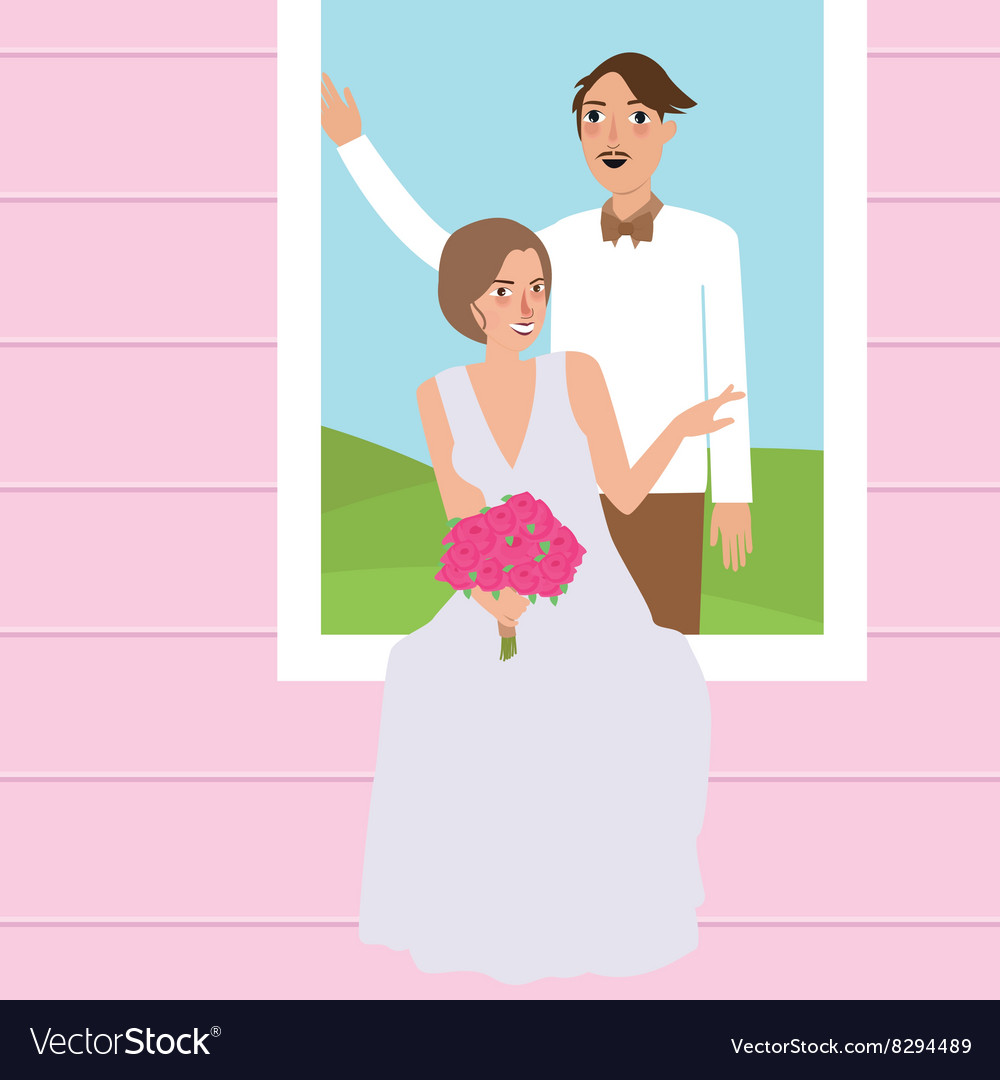 Couple man woman wedding dress portrait in window