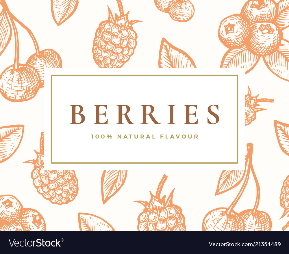 Hand drawn berries card abstract