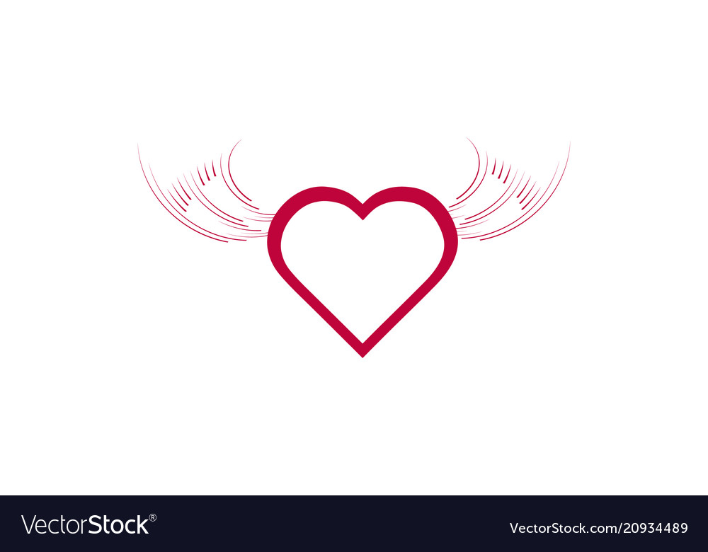 Heart angel wings icon isolated