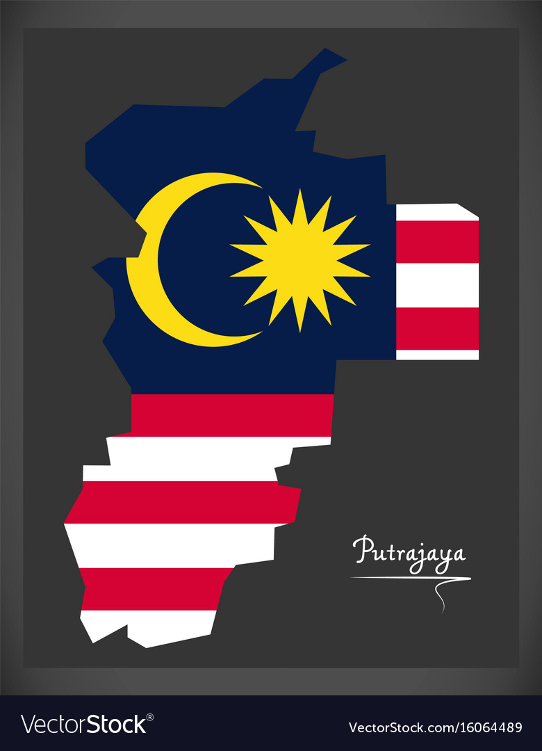 Putrajaya malaysia map with malaysian national