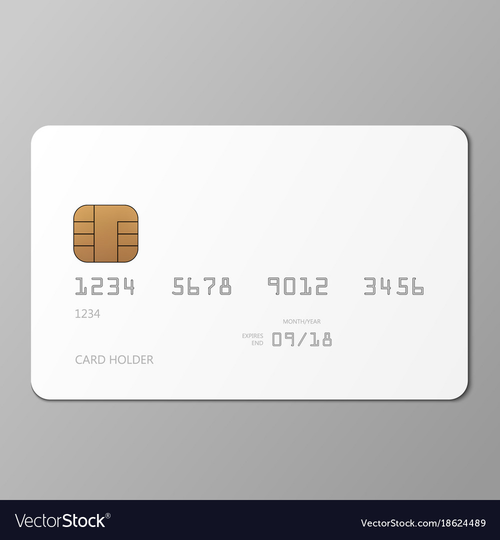 Realistic White Credit Card Mockup Template With