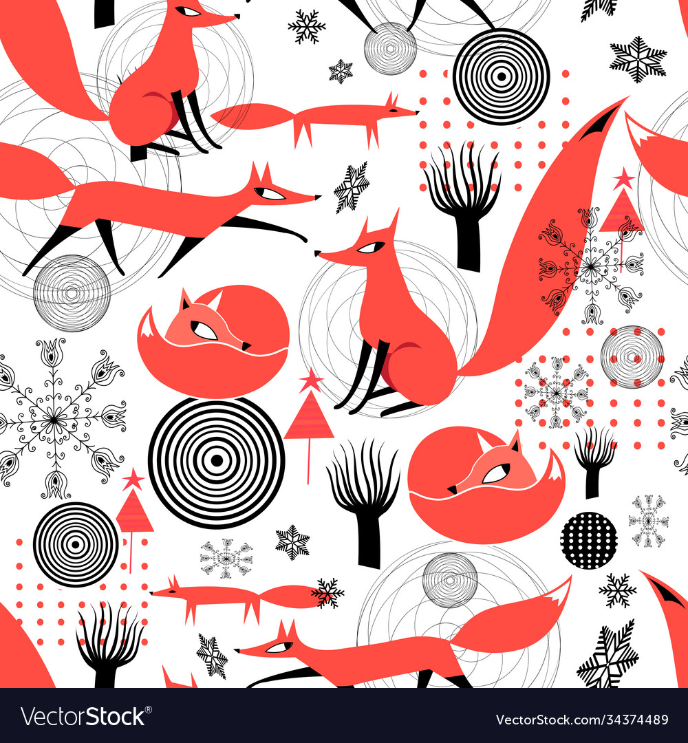 Seamless pattern red foxes snowflakes
