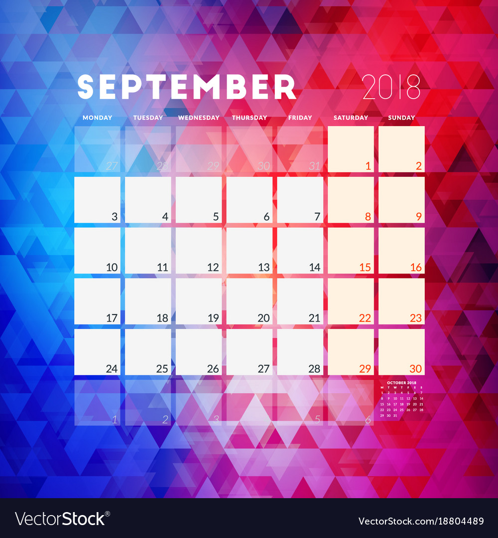 september 2018 calendar planner design template vector image