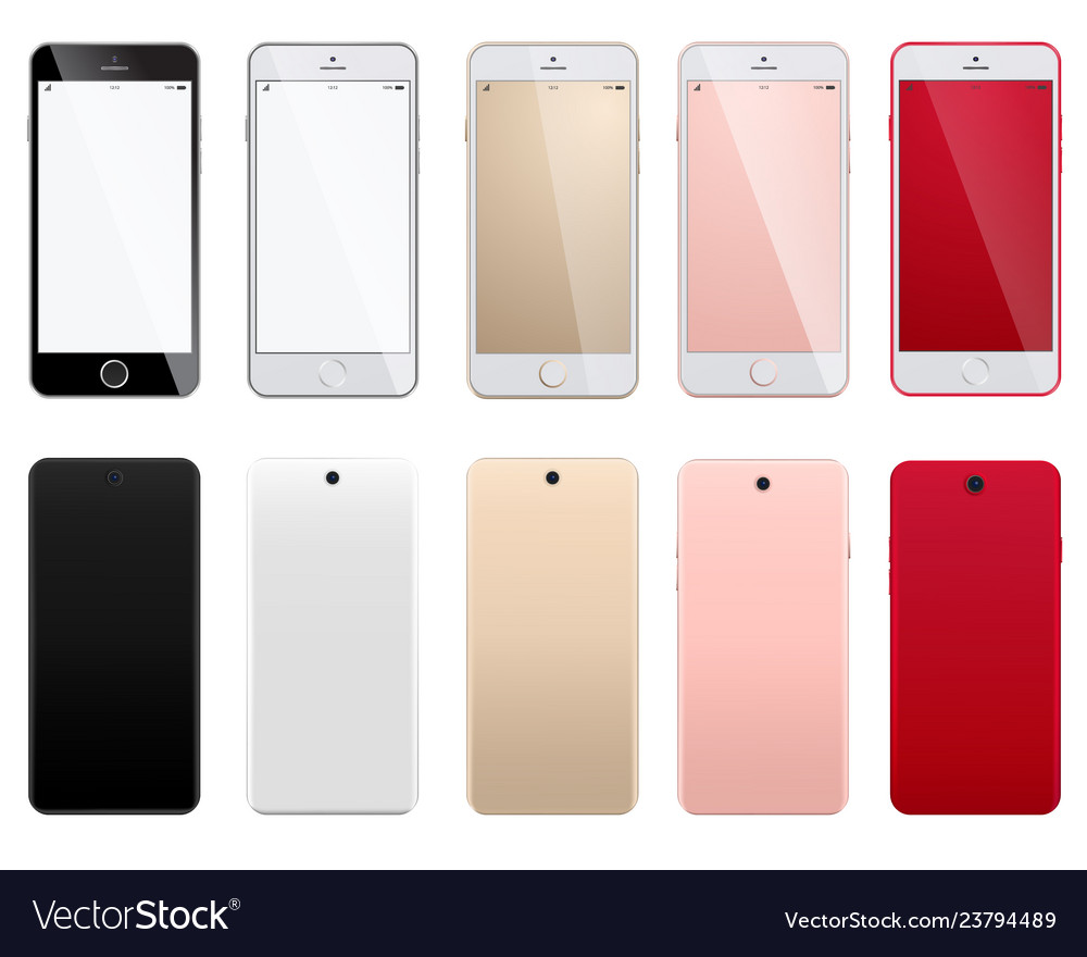 Set of modern smartphones on a white background