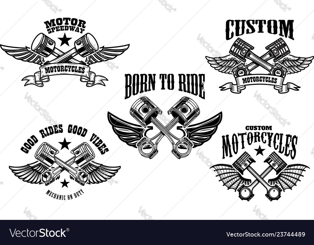 Set of winged motorcycle and car pistons design