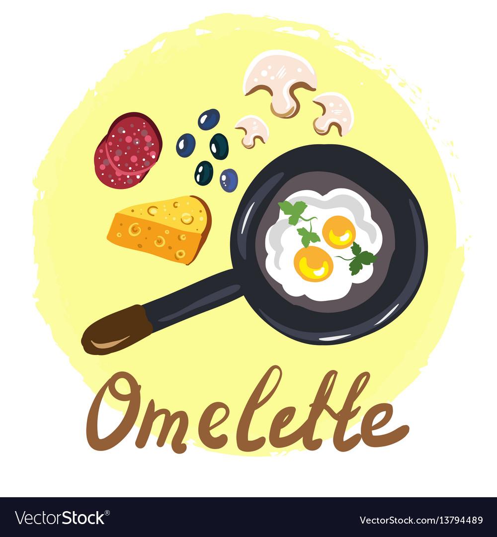 Top view omellete cooking ingredients cartoon free