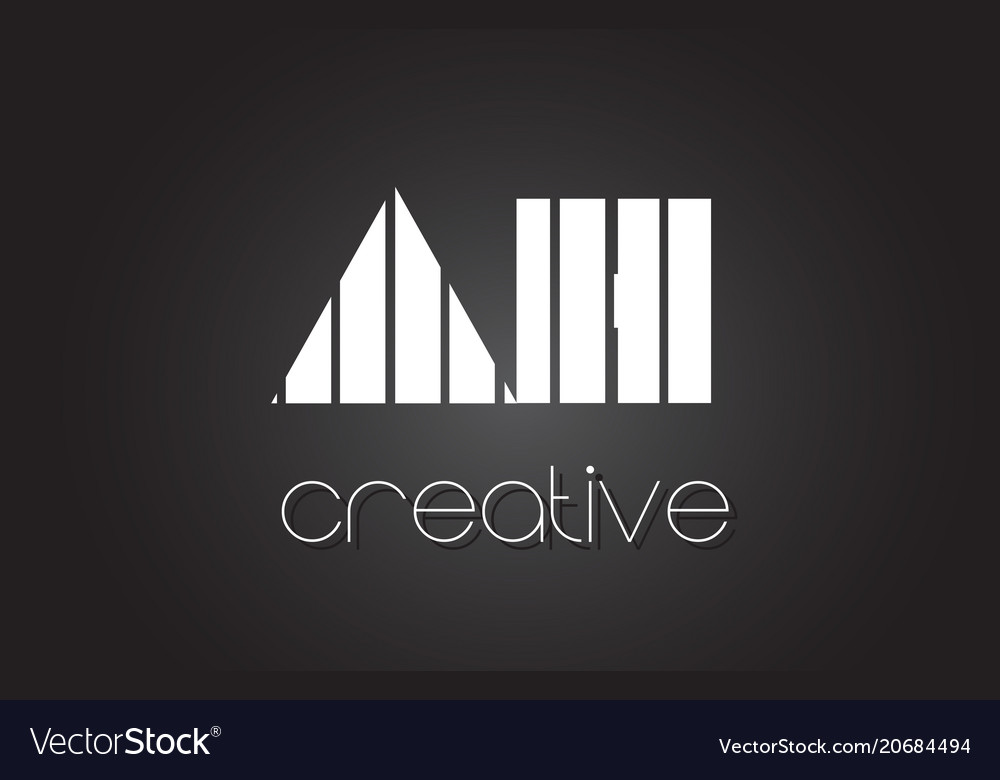 Ah a h letter logo design with white and black