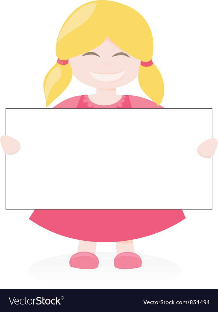 Blond girl holding white empty banner