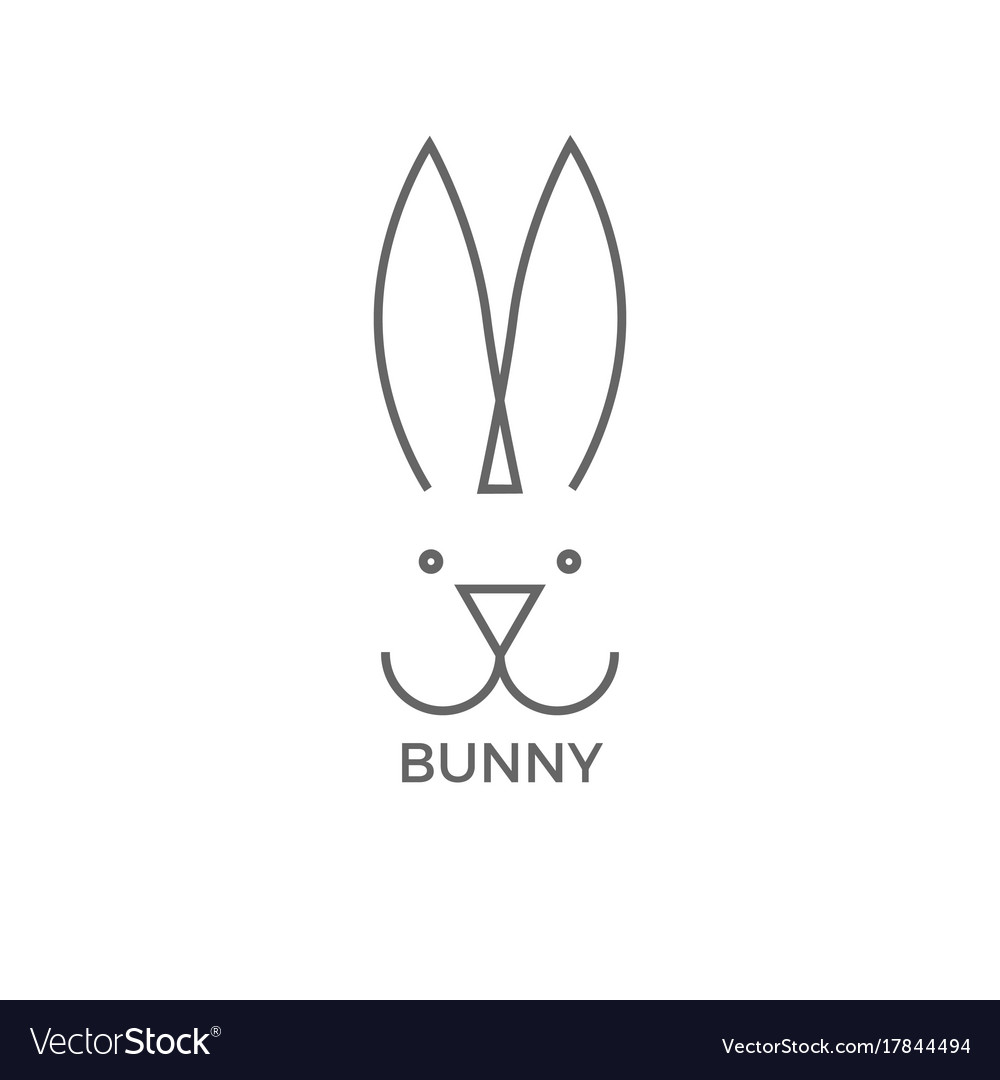 Bunny logo design simple line