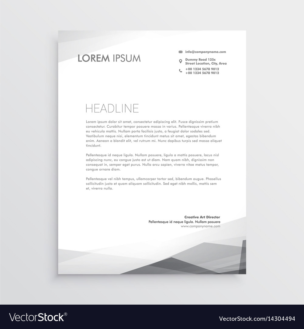 Business letterhead design template in gray shade vector image accmission Image collections
