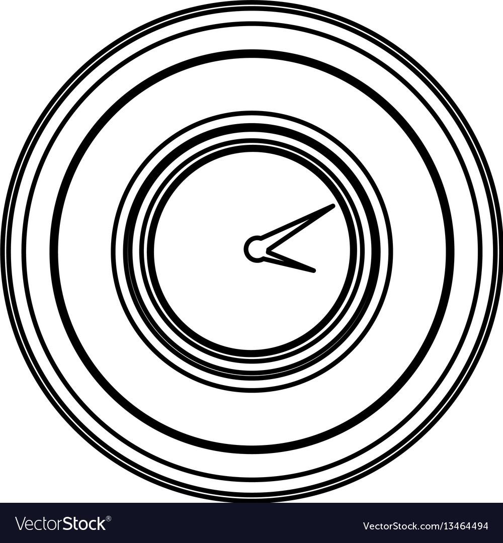 Contour emblem clock icon vector image