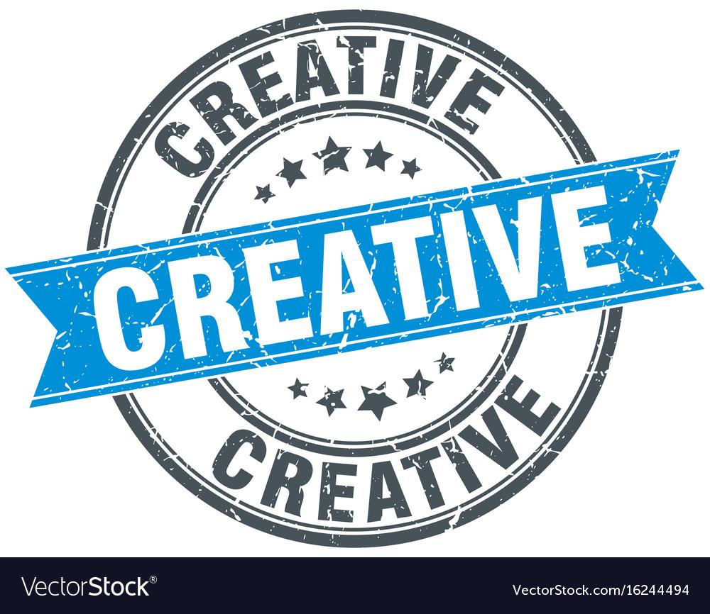 Creative round grunge ribbon stamp