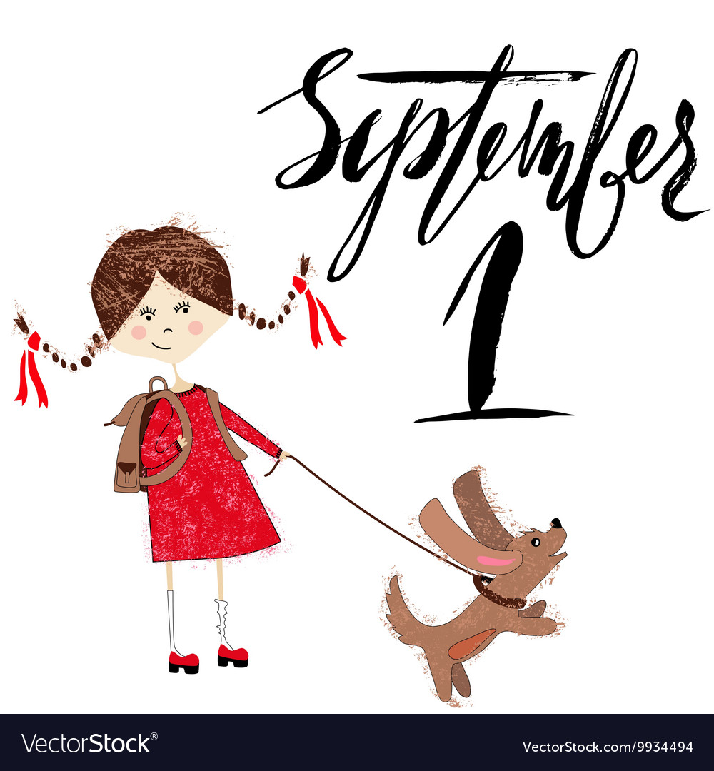 Girl with a puppy Handdrawn inspiration Back to vector image