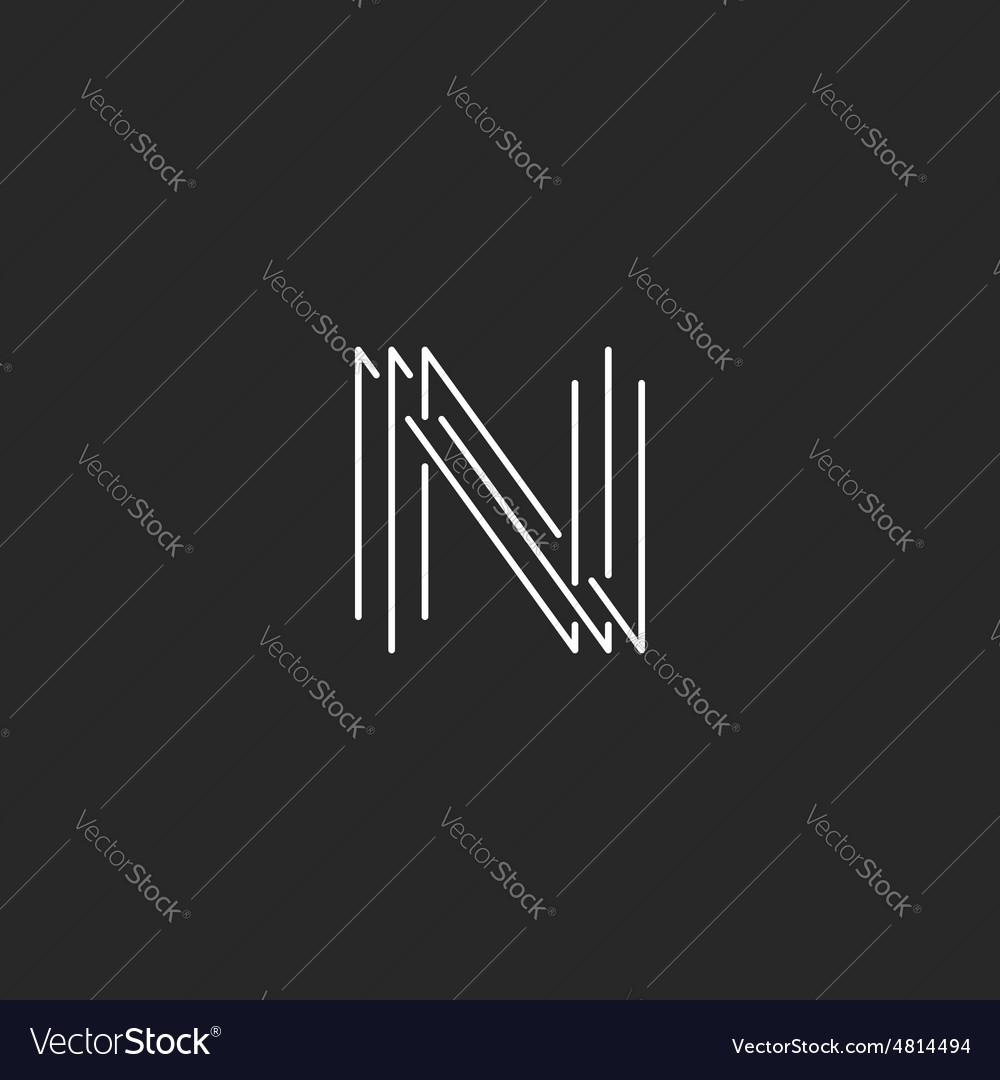 Letter N monogram logo black and white mockup