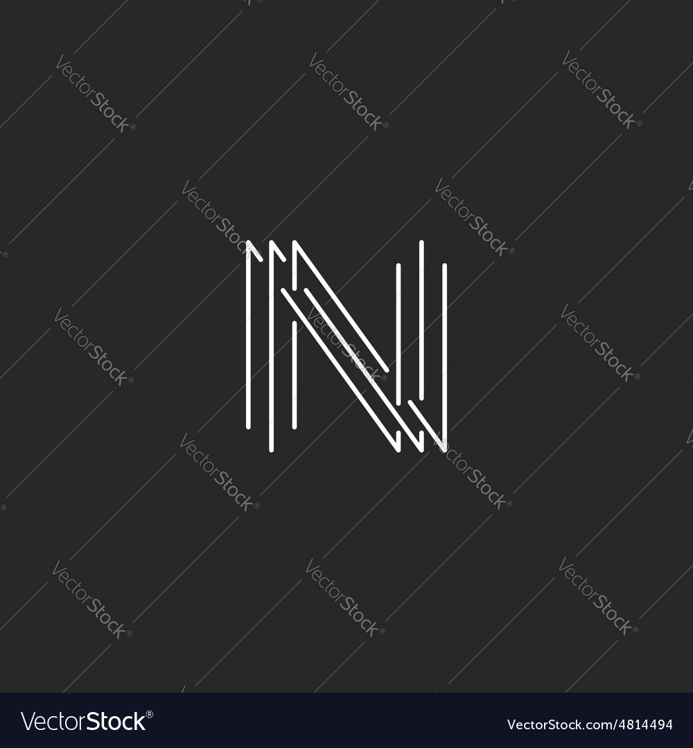 Letter N monogram logo black and white mockup vector image