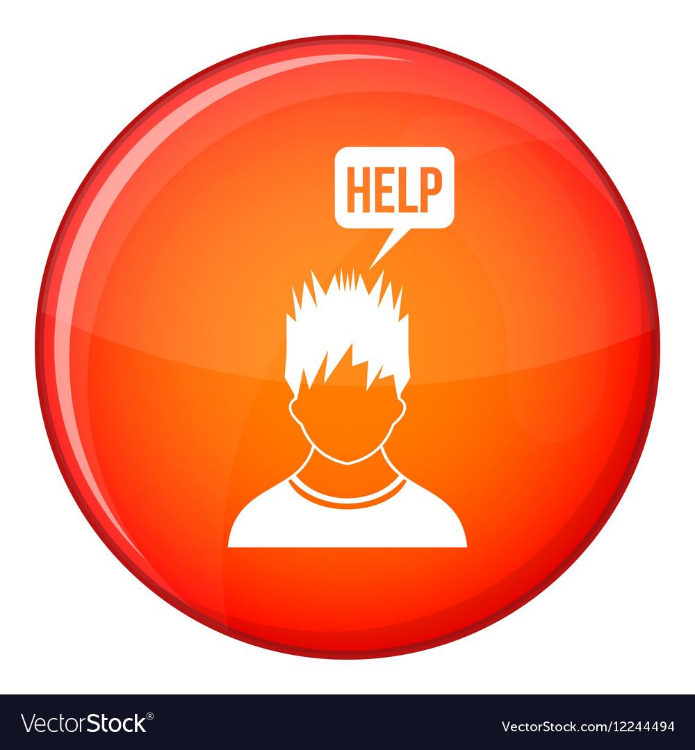Man needs help icon flat style