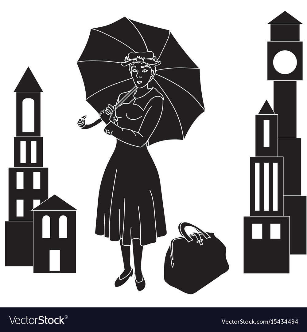 Mary poppins in the sky with an umbrella