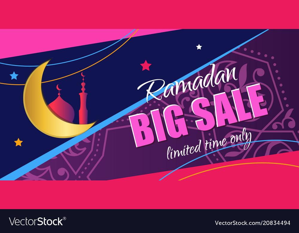 Ramadan big sale design vertical web banner with vector image