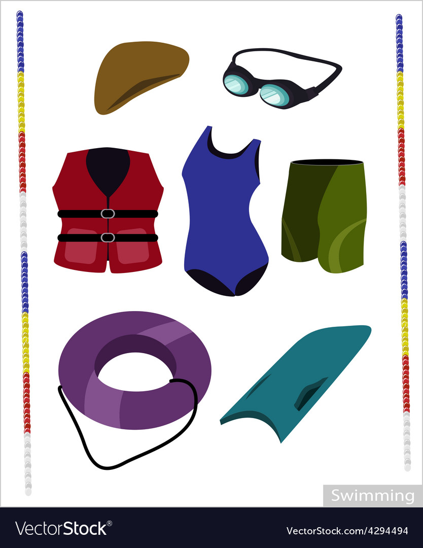 Set of Swimming Equipment on White Background vector image
